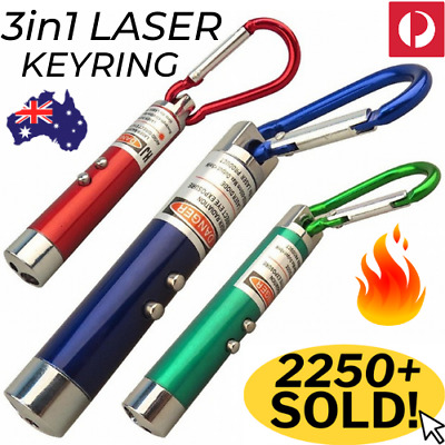 🔥 3 in 1 LASER LED KEYRING Lazer Pen Torch UV Light 3in1 Key Chain Ring Pointer