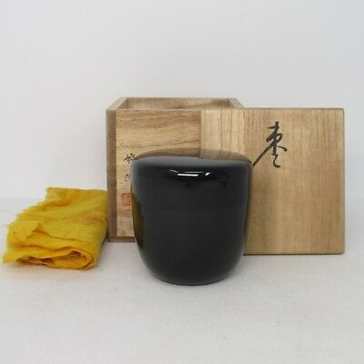 G976: Japanese lacquer ware powdered tea container with signed box and cloth