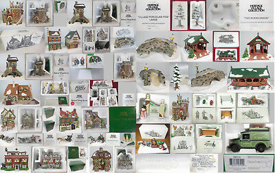 Dept 56 Collection, 33 Pcs Total, 9 Bldgs, 24 Acc, Free Ship In Contiguous Usa