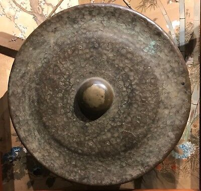 A Wonderful Japanese Unusual large Bronze Gong With Great Sound !
