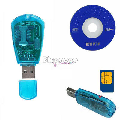 Blue USB SIM Card Reader GSM CDMA Mobile Phones SMS Backup New