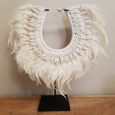Hand Made Papua Necklace Natural Feather & Shell Traditional Display Stand # 29E