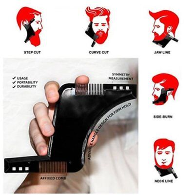 Beard Shaping Tool Styling Template Shaper Comb Trim Facial HairCare Barber FE