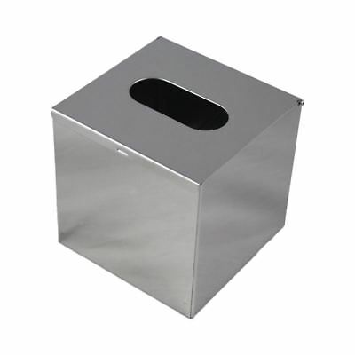 Stainless Steel Handkerchief Dispenser Cosmetic Towel Tissue box - Silver P2Z9