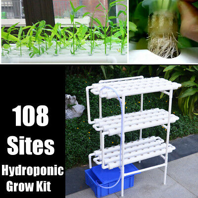 108 Sites 12 Pipes 3 Layers Hydroponic Grow Kit Garden Plant Vegetable Tool