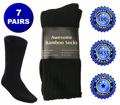 7 Pairs Awesome Bamboo Socks Thick Cushion Heavy Duty Mens Hiking Work Sock