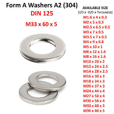 M16 FORM A FLAT WASHERS 16mm ZINC PLATED BZP STEEL WASHER DIN 125