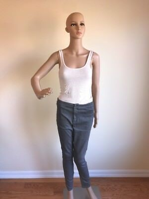 NWT A/X Armani Exchange Women's Silver Fashion Jeans Trouser Size 12 New $99