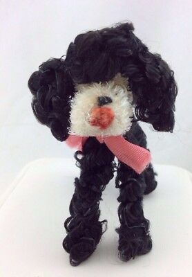 "Vintage 3"" Party POODLE Dog Black White Pipecleaner Google Eye Doll Muffie Clone"