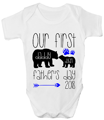 Personalised Our First Fathers Day 2018 Boys Funny Baby Grow Body Suit Vest
