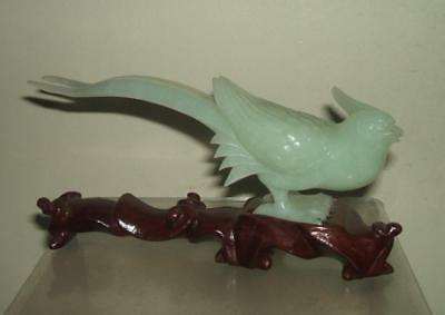 Vintage Chinese Carved Jade Green Hardstone Bird On Wood Stand