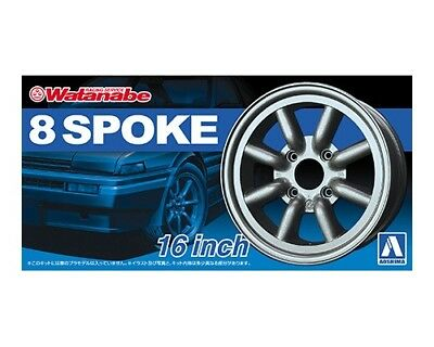 "RS WATANABE 8 SPOKE 17/"" TYRE WHEEL SET CERCHI E GOMME 1//24 AOSHIMA 05243 052433"