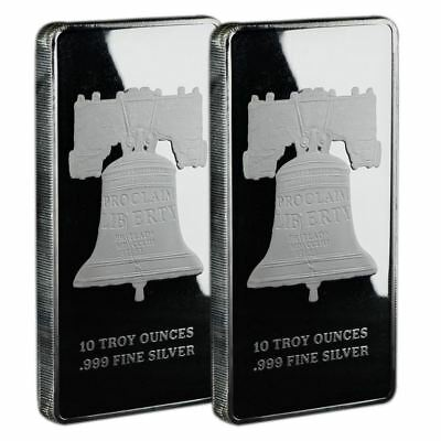 10 oz Silver Bar Proclaim Liberty | Lot of 2 In Original Mint Plastic