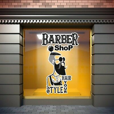 Barber Shop Window Stickers Signs Decal Salon Modern Hairdresser Unique Sticker