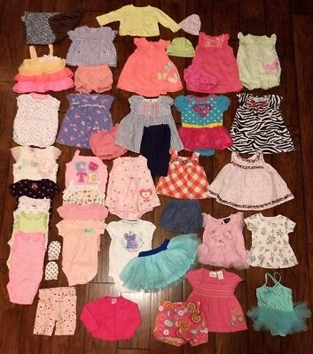Huge Lot of 42 Baby Girls Clothes 3, 3-6, 6 Months Spring Summer Carter's Cute