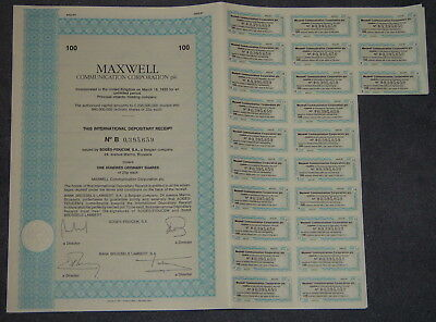 MAXWELL Communication Corporation plc. 100 X 0,25 GBP 1991