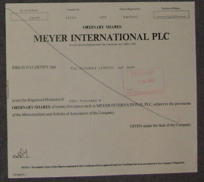Meyer International PLC 1983 5000 Shares
