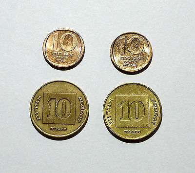 Israel 10 Agorot Coins from 1980, 1981, 1988, 1994