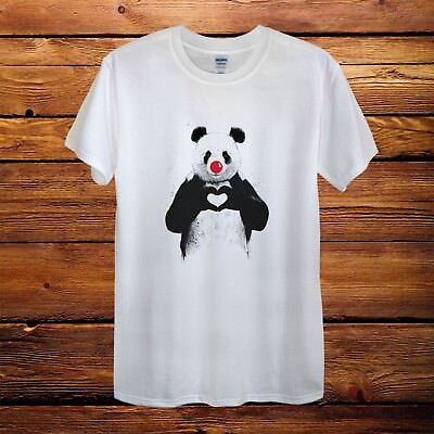 Panda Heart Love Red Nose Day Top Design T-Shirt Men Unisex Women Fitted