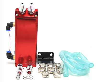 Red Universal Aluminium Square Oil Catch Tank Breather Can 9mm &15mm Fittings