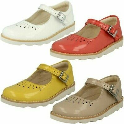 fd9e46b833cde Infant Junior Girls Clarks Buckle Mary Jane Patent Leather Shoes Crown Jump
