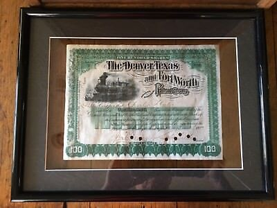 "1887 100 stock certificate ""The Denver Texas and fort worth railroad co."" Framed"
