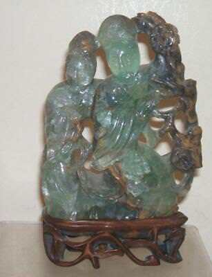 Chinese Vintage Carved Jade Green Hardstone Guan Quan Yin Women On Wood Stand