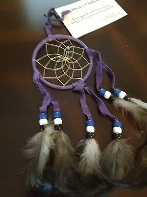 "Authentic Native American Navajo Buckskin  Dream Catcher 3"" By Mae Stone #31214"
