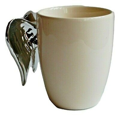 White Angel Wings Mug With Silver Wings Gift Present
