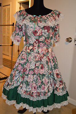 Square Dance Outfit Fun and Fancy Originals Rose/Green Floral Size L