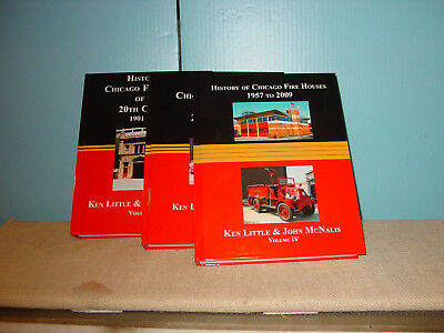 Set Of 3 Volumes: History Of Chicago Fire Houses Of The 20Th Century - All New