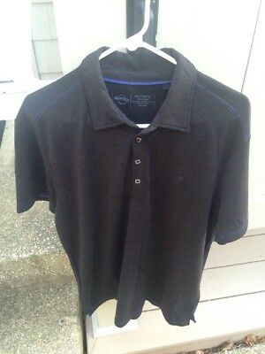 New NWT Hard Rock Cafe Black Label Guitar Logo Men's Black Polo Golf Shirt L