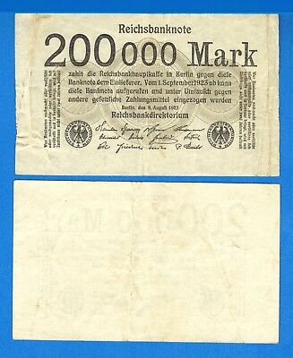Germany P-100,  200,000 Marks. Dated 9.8.1923 Circulated Banknote Europe
