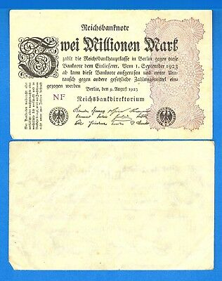 Germany P-104 2 Millionen Marks Dated 9.8.1923 Circulated Banknote Europe