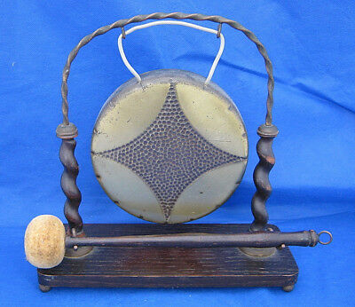 Vintage Antique WMF Germany Brass Bronze DINNER GONG Stand Mallet AS IS