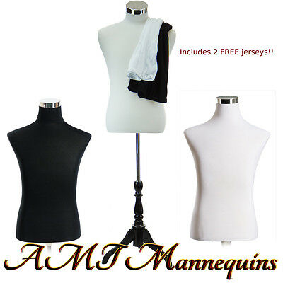 Male torso +stand, manequin dress form, +2covers- white /black Torso-MH-BH102