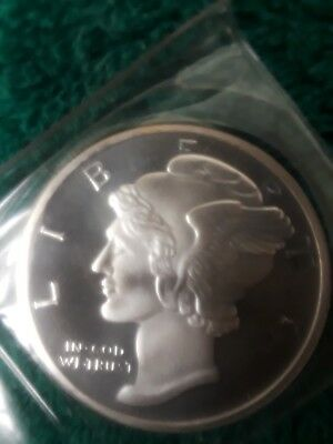 1 Troy Ounce Silver Mercury Head Dime .999 Fine -- Cameo Strike with High Luster