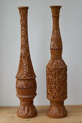 Pair of Table Lamps Decorative Large Carved  Solid Teak -  2 Foot Tall