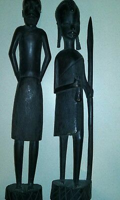 African Kenya Tribal Figure Hand Carved Man and Woman Sculpture Statue Vintage