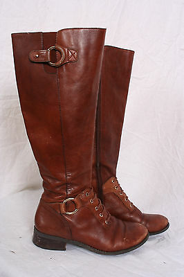 f670ae264f2 Antonio Melani WOMENS LEATHER BOOTS riding campus knee high size 6.5  chestnut