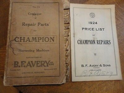 1924 CHAMPION HARVESTING MACHINES Parts Catalog & Price List