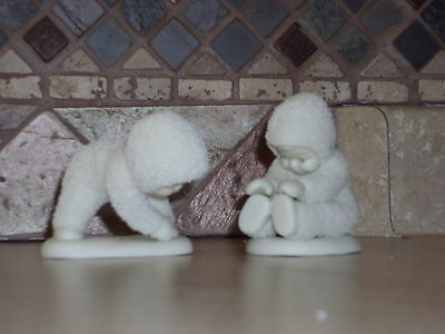 """Dept. 56-Winter Tales Of The Snowbabies-""""i Can Touch My Toes""""-Set/2-Mib"""