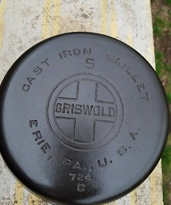 Vintage Griswold Cast Iron Skillet # 5 Large Block Logo Cleaned and Seasoned