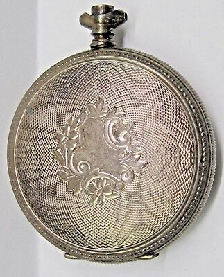 Antique No Name/ Sterling Silver Covered Pocket Watch 47 mm Case # 386468