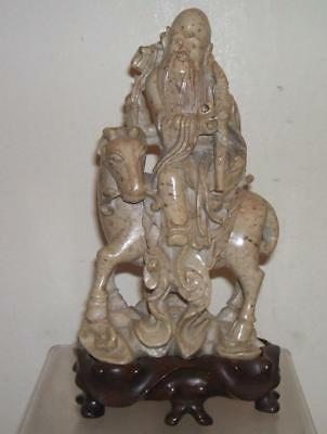 Chinese Vintage Carved Soapstone Hard Stone Immortal On Horseback & Wood Stand