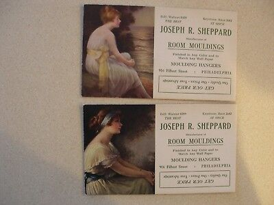 Antique Philadelphia Advertising Blotters Young Women c.1900's Lot of Two
