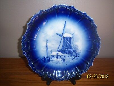 Pottery* Windmill Scene* Scalloped Edge *Flow Blue Collector Display Plate