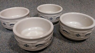 Longaberger Woven Traditions Classic Blue Desert Bowls -- Set of 4