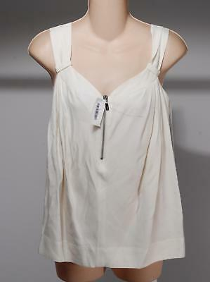 See By Shloe Ivory White Viscose Blend Pleated Half Zip Tank Top Blouse Size 2