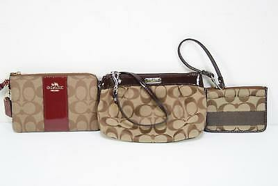 Lot of 3 Coach Bags Brown Red Leather Canvas Signature